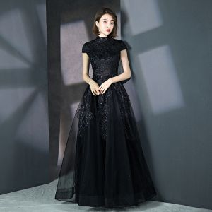 Vintage / Retro Black Prom Dresses 2018 A-Line / Princess High Neck Cap Sleeves Glitter Sequins Floor-Length / Long Ruffle Formal Dresses