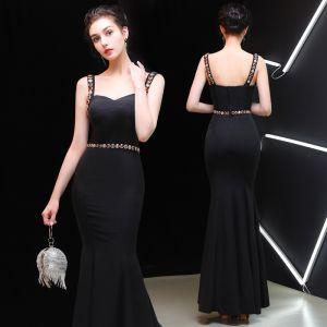Piękne Czarne Sukienki Wieczorowe 2019 Syrena / Rozkloszowane Kwadratowy Dekolt Rhinestone Kryształ Bez Rękawów Bez Pleców Długie Sukienki Wizytowe