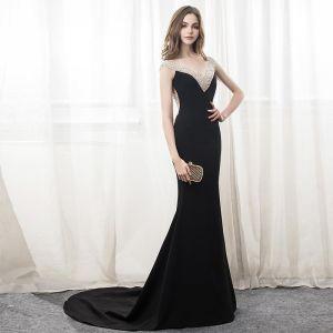 Sexy Black Evening Dresses  2018 Trumpet / Mermaid Beading Sequins Backless V-Neck Sleeveless Court Train Formal Dresses