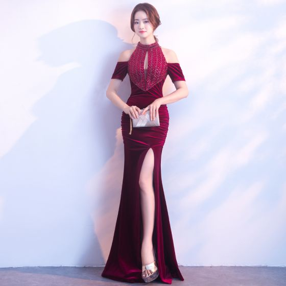 Chic / Beautiful Burgundy Evening Dresses  2017 Trumpet / Mermaid Zipper Up High Neck Beading Backless Evening Party Formal Dresses