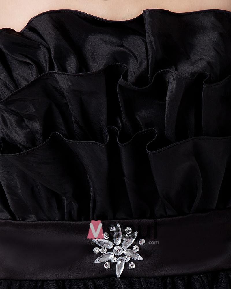 Organza Beading Ruffle Flower Pattern Prom Dresses