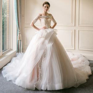 Affordable Champagne See-through Wedding Dresses 2018 Ball Gown Off-The-Shoulder 1/2 Sleeves Backless Appliques Lace Cathedral Train Ruffle