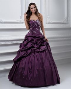 Ball Gown Satin Sweetheart Bead Handmade Flower Drape Floor Length Quinceanera Prom Dresses