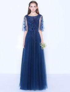 Reizvolles Blaues Abendkleid Appliques Schnüren Sich Langes Festliche Kleid Backless