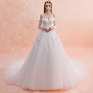Elegant Ivory Wedding Dresses 2019 A-Line / Princess Off-The-Shoulder Long Sleeve Backless Appliques Lace Glitter Sequins Cathedral Train Ruffle