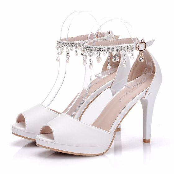 Chic / Beautiful White Wedding Shoes 2018 Pearl Rhinestone Ankle Strap 7 cm Stiletto Heels Open / Peep Toe Wedding High Heels