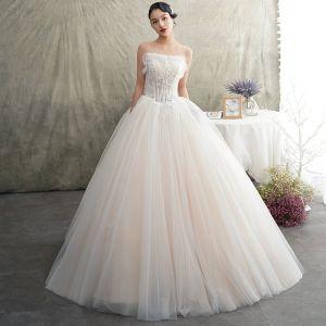 Elegant Champagne Wedding Dresses 2019 A-Line / Princess Spaghetti Straps Sleeveless Backless Appliques Lace Beading Floor-Length / Long Ruffle