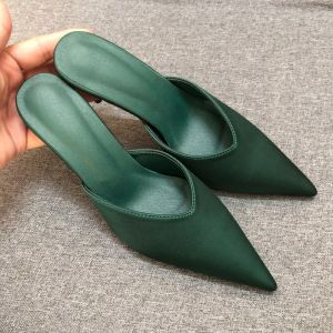 Modest / Simple Dark Green Casual Womens Sandals 2019 Leather 7 cm Stiletto Heels Pointed Toe Sandals