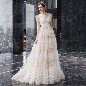 Romantic Champagne Outdoor / Garden Wedding Dresses 2019 A-Line / Princess Square Neckline Sleeveless Backless Appliques Lace Beading Bow Sash Floor-Length / Long Ruffle
