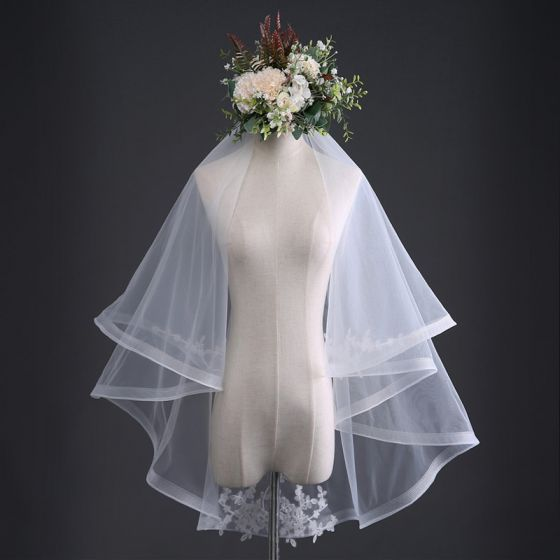Modest / Simple White Wedding Lace Tulle Embroidered Handmade  1 m Short Wedding Veils 2019