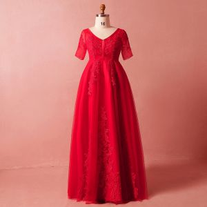 Chic / Beautiful Red Plus Size Evening Dresses  2018 A-Line / Princess V-Neck Lace Summer Crossed Straps Appliques Backless Beading Rhinestone Evening Party Formal Dresses