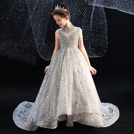 Vintage Szary Urodziny Sukienki Dla Dziewczynek 2020 Suknia Balowa Przezroczyste Wysokiej Szyi Bez Rękawów Cekiny Frezowanie Rhinestone Trenem Sąd Wzburzyć