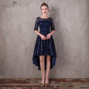 Chic / Beautiful Navy Blue Asymmetrical Evening Dresses  2017 A-Line / Princess Lace Sequins Bow Scoop Neck 1/2 Sleeves Formal Dresses