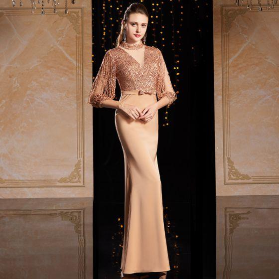 High-end Champagne Guld Aftonklänningar 2021 Trumpet / Sjöjungfru Genomskinliga Hög Hals 3/4 ärm Paljetter Rosett Skärp Långa Ruffle Formella Klänningar