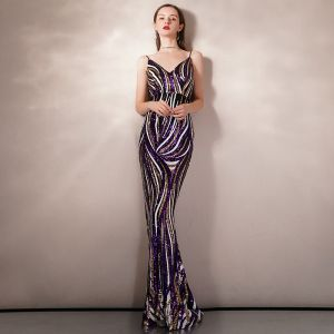Sexy Multi-Colors Sequins Evening Dresses  2020 A-Line / Princess Spaghetti Straps Sleeveless Floor-Length / Long Backless Formal Dresses