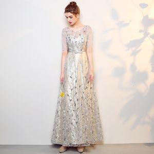 Piękne Srebrny Sukienki Na Bal 2017 Princessa Przebili Wycięciem 1/2 Rękawy Cekiny Haftowane Długie Sukienki Wizytowe