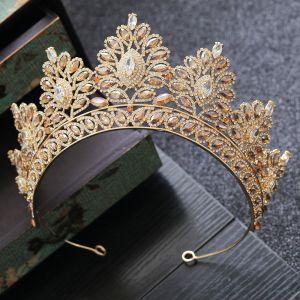 Hermoso Oro Rhinestone Tiara Accesorios 2019 Tocados de novia
