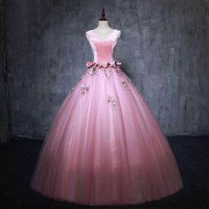 Vintage Pink Ballkleider 2019 Ballkleid V-Ausschnitt Wildleder Perle Applikationen Ärmellos Rückenfreies Lange Festliche Kleider
