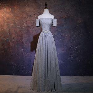 Elegant Grey Glitter Evening Dresses  2018 A-Line / Princess Off-The-Shoulder Short Sleeve Rhinestone Sash Floor-Length / Long Ruffle Backless Formal Dresses