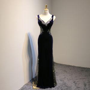 Sexy Navy Blue See-through Suede Evening Dresses  2018 Trumpet / Mermaid V-Neck Sleeveless Beading Rhinestone Floor-Length / Long Backless Formal Dresses