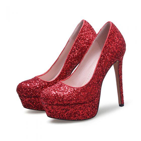 4557c36afdb Sparkly Prom Pumps 2017 Polyester PU Glitter Platform High Heel Round Toe  Pumps