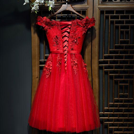 schöne rot festliche kleider abendkleider 2017 spitze