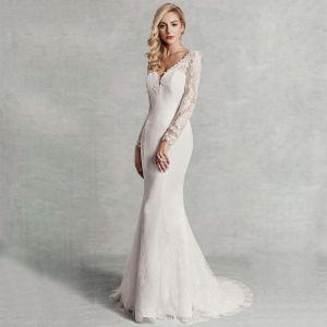 Modern / Fashion Sexy Ivory Wedding Dresses 2020 Trumpet / Mermaid V-Neck 3D Lace Long Sleeve Appliques Backless Embroidered Sweep Train Wedding