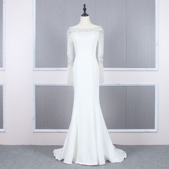 High-end White Evening Dresses  2020 Trumpet / Mermaid Square Neckline Long Sleeve Rhinestone Beading Tassel Sweep Train Formal Dresses
