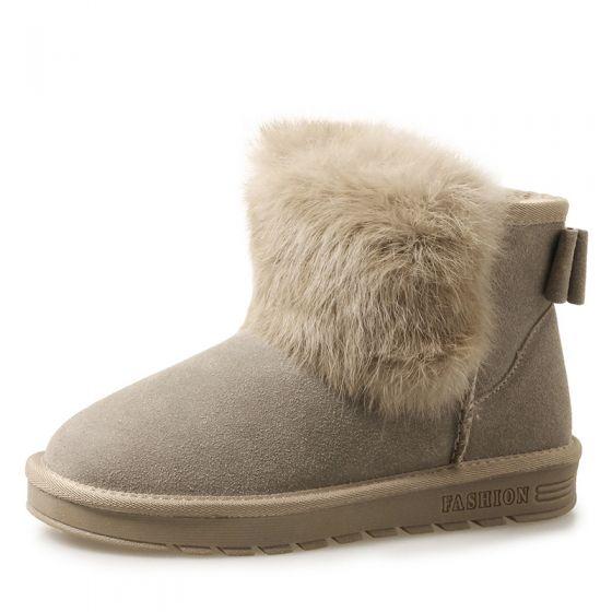 Stylowe Modne Buty Damskie 2017 Khaki Skorzany Botki Zamszowe Przypadkowy Zima Plaskie Snow Boots