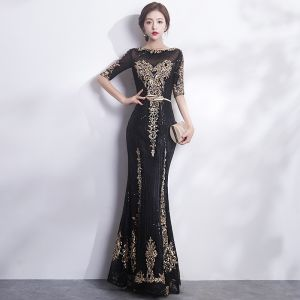 Sparkly Black Gold Evening Dresses  2017 Trumpet / Mermaid Scoop Neck 1/2 Sleeves Sequins Appliques Lace Metal Sash Floor-Length / Long Formal Dresses