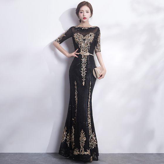 Sparkly Black Gold Evening Dresses  2017 Trumpet / Mermaid Scoop Neck 1/2 Sleeves Sequins Appliques Lace Metal Sash Floor-Length / Long Formal Dresses