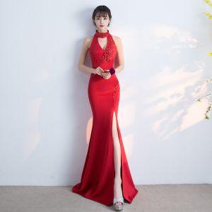 Sexy Partykleider 2017 Gespaltete Front Strass V-Ausschnitt Neckholder Ärmellos Lange Rot Mermaid Abendkleider