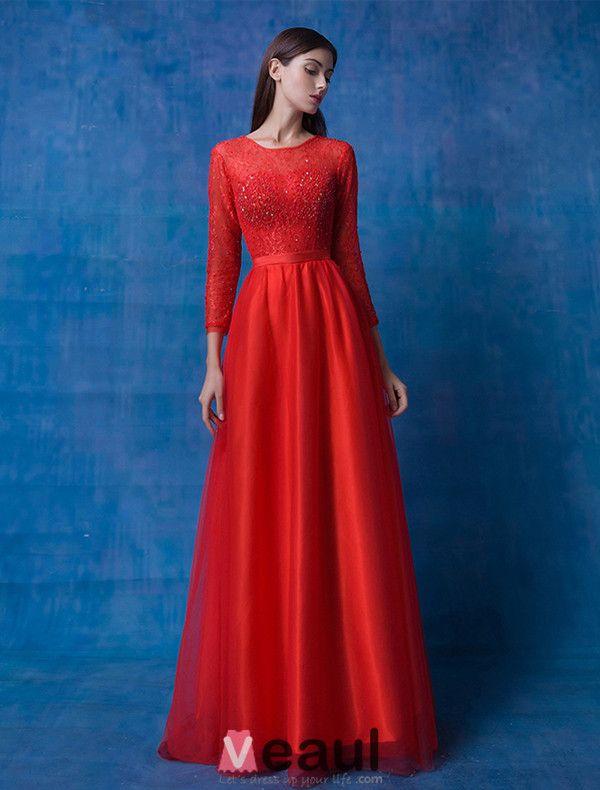 2016 Glamourösen U-ausschnitt Mit Langen Ärmeln Sicke Spitze Roten Organza Abendkleid Mit Schärpe