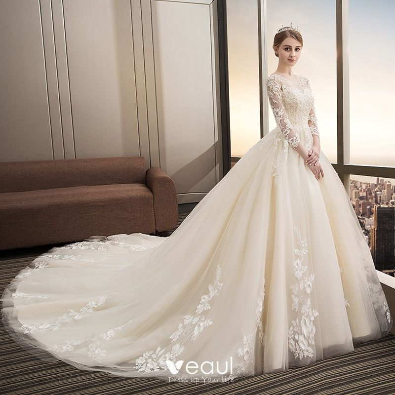 Chic / Beautiful Champagne Wedding Dresses 2018 Ball Gown Lace Appliques Sequins Scoop Neck Backless 3/4 Sleeve Cathedral Train Wedding
