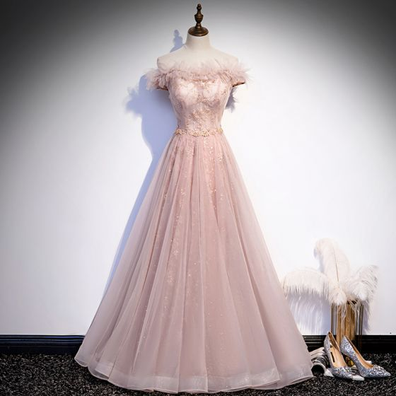 Chic / Beautiful Blushing Pink Dancing Prom Dresses 2020 A-Line / Princess Off-The-Shoulder Short Sleeve Beading Sequins Glitter Tulle Floor-Length / Long Ruffle Backless Formal Dresses