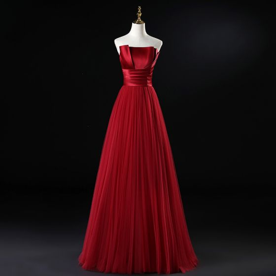 Modest / Simple Burgundy Evening Dresses  2020 A-Line / Princess Strapless Sleeveless Floor-Length / Long Ruffle Backless Formal Dresses