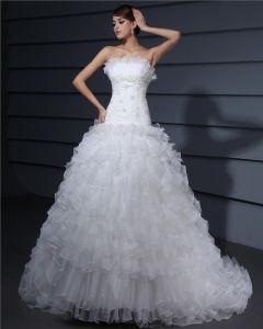 Axelbandslos Alskling Rufsa Organza En Linje Brudklänningar Bröllopsklänningar