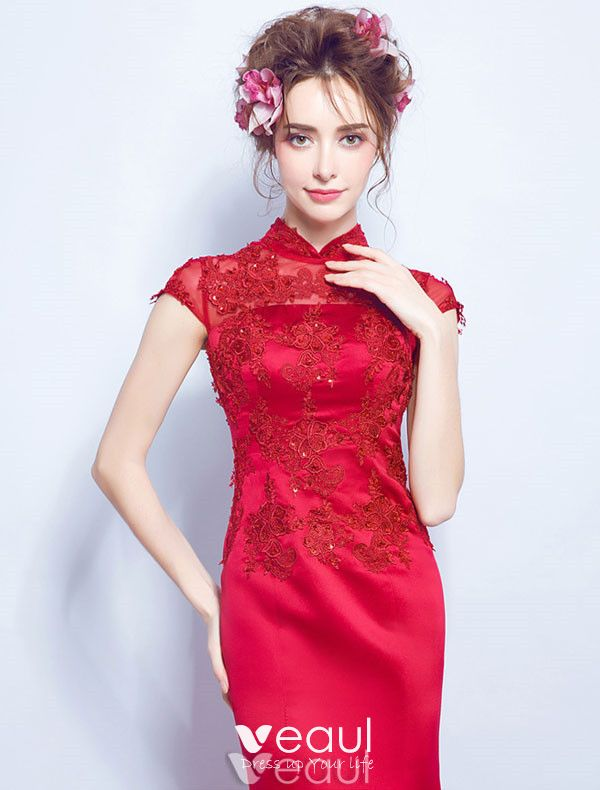 Elegant Long Evening Dress 2017 Red Lace Mermaid Dress High Neck