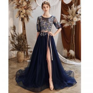 Charming Royal Blue See-through Evening Dresses  2020 A-Line / Princess Scoop Neck Puffy 1/2 Sleeves Appliques Flower Beading Split Front Court Train Ruffle Backless Formal Dresses