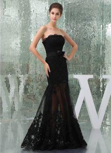 Charmante Schwarze Trägerlose Schleife-schärpe-spitze-cocktailkleid Abendkleid