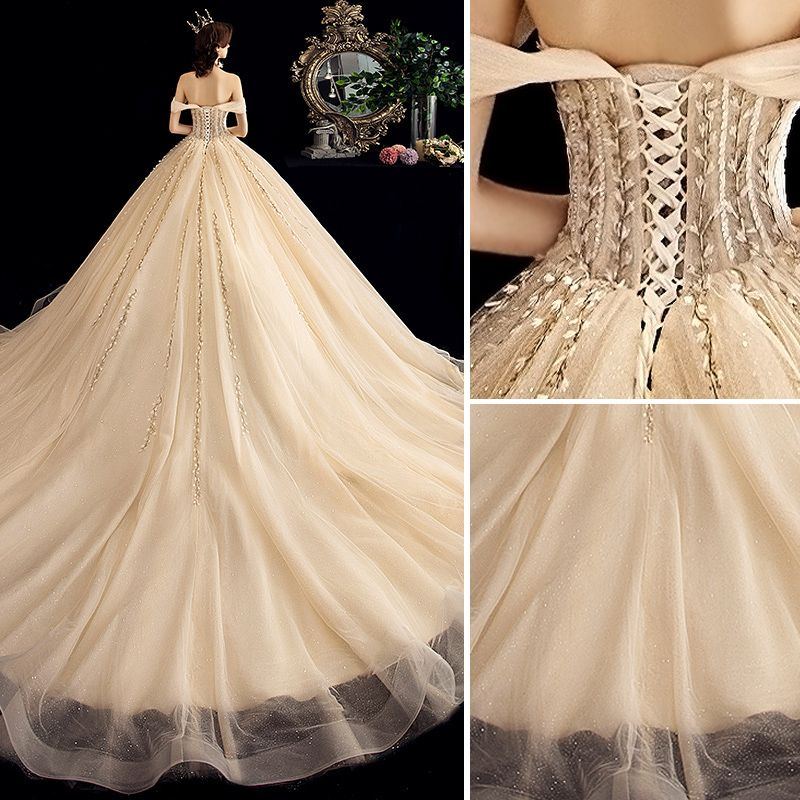 Charming Champagne Wedding Dresses 2020 Ball Gown Off-The-Shoulder Sequins Lace Flower Sleeveless Backless Chapel Train