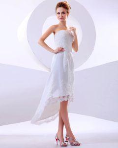 Spitzerüsche Trägerlosen Kurzen Brautkleider Hochzeitskleid