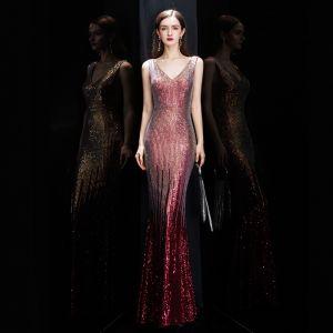 Brillante Borgoña Lentejuelas Vestidos de noche 2020 Trumpet / Mermaid V-Cuello Sin Mangas Largos Ruffle Sin Espalda Vestidos Formales