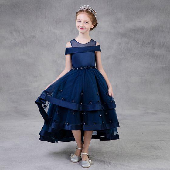Piękne Granatowe Sukienki Dla Dziewczynek 2018 Princessa Przezroczyste Wycięciem Bez Ramiączek Kótkie Rękawy Rhinestone Asymetryczny Wzburzyć Sukienki Na Wesele