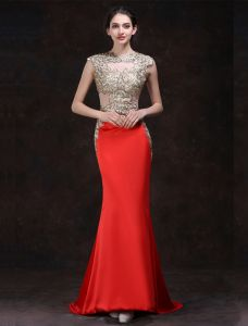 Robe De Soirée Rouge Sexy 2016 Sirène Encolure Carrée Perles Strass Dentelle Or Robe De Ceremonie