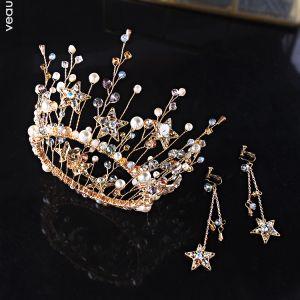 Mooie / Prachtige Goud Bruidssieraden 2019 Metaal Tiara Oorbellen Ster Kristal Parel Accessoires