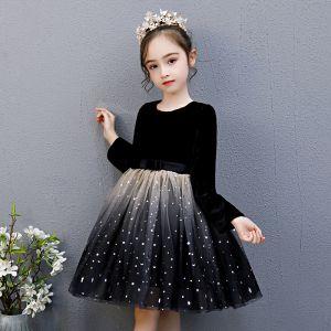 Asequible Negro Cumpleaños Vestidos para niñas 2020 Ball Gown Scoop Escote 3/4 Ærmer Estrella Lentejuelas Bowknot Cinturón Por La Rodilla Ruffle