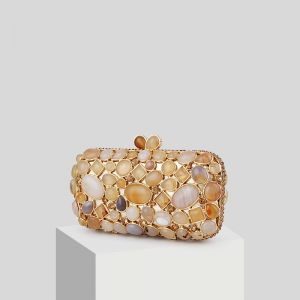 Vintage / Retro Champagne Beading Stone Clutch Bags 2019