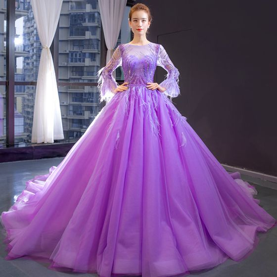 Luxury / Gorgeous Lilac See-through Evening Dresses  2020 A-Line / Princess Scoop Neck Long Sleeve Bell sleeves Beading Feather Chapel Train Ruffle Backless Formal Dresses