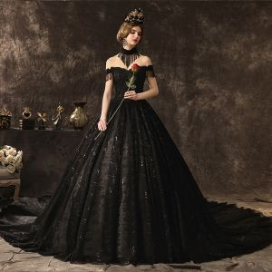 Amazing / Unique Stunning Black Lace Wedding Dresses 2019 A-Line / Princess Off-The-Shoulder Short Sleeve Backless Beading Tassel Glitter Sequins Cathedral Train Ruffle